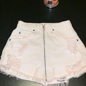 LF CARMAR DENIM zip skirt blush